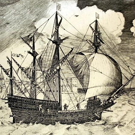 Galeone, tratto da Nautica Mediterranea di Bartolomeo Crescenzio (1602)
