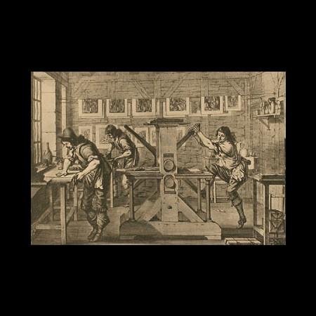 Incisione raffigurante una bottega in cui si stampano grandi mappe, sec. XVII