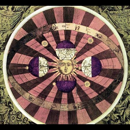 Tavola tratta dall'Atlas Universalis che illustra il sistema astronomico Copernicano