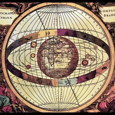 Tavola tratta dall'Atlas Universalis che illustra il sistema astronomico di Tycho Brahe, 1660