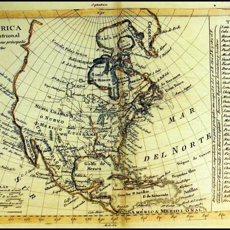 Tomás López, Carta dell'America Settentrionale contenuta in Atlas Elemental, Madrid, 1792