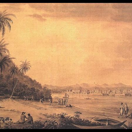 F. Brambilla, La città di Panama dall'isola di Nao
