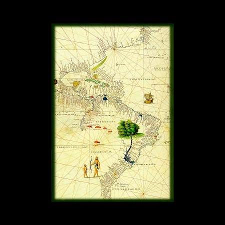 """Battista Agnese Particolare della carta """"Il Nuovo Mondo, l'Atlantico, l'Europa e l'Africa"""""""