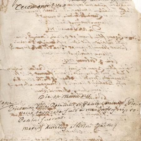 Atto di battesimo di Alessandro Malaspina - Archivio Parrocchiale di Mulazzo