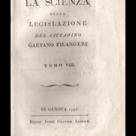 Frontespizio della Scienza della legislazione di Filangeri