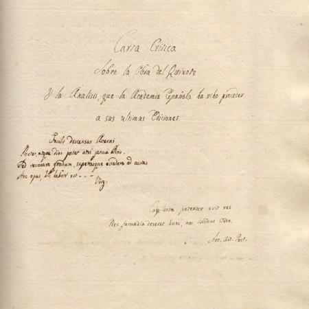 Frontespizio del manoscritto di Alessandro Malaspina