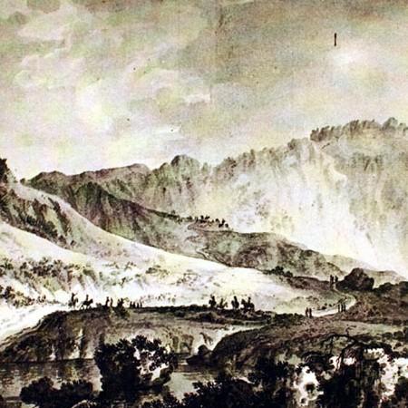 Veduta del punto più alto della cordigliera sul passo fra Santiago e Mendoza