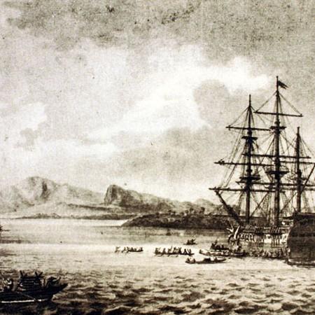 Il porto di Palapa nell'isola di Samar. Le corvette Descubierta e Atrevida