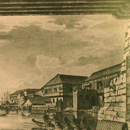 Il fiume di Manila da un arco del ponte