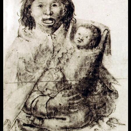 India con suo figlio in braccio