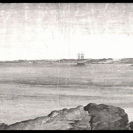 Vista di Porto Deseado. Le corvette Descubierta e Atrevida