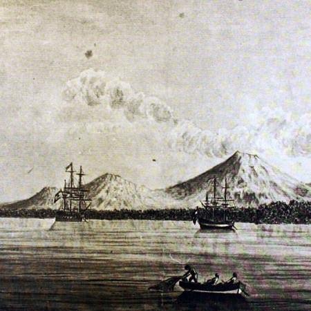 Veduta dell'ormeggio di Realejo e del vulcano del Viejo. La corvetta Descubierta